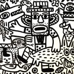 """""""Caos na Quinta"""", 2018, Esmalte sobre platex, 105x83 cm [INDISPONÍVEL / UNAVAILABLE]"""
