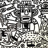 """""""Caos na Quinta"""", 2018, esmalte sobre platex, 105x83cm [INDISPONÍVEL / UNAVAILABLE]"""