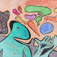 """Homem-Lagarto"", 2017, artpen e aguarela sobre papel, 70x50cm [INDISPONÍVEL / UNAVAILABLE]"