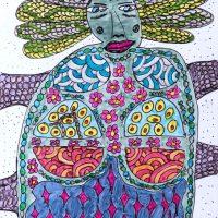 """""""Arte de Sofá 8"""", 2017, caneta sobre papel, 8x12cm"""