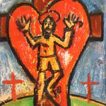 """""""Coração com Cristo na Cruz"""", 2017, Óleo sobre tela, 30x24 cm"""