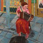 """""""A Dama do Acordeão"""", 2013, Óleo sobre tela, 60x70 cm"""
