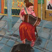 """A Dama do Acordeão"", 2013, óleo sobre tela, 60x70cm [INDISPONÍVEL / UNAVAILABLE]"