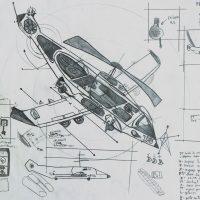 """Skynet — Projecto de Avião-helicóptero"", 1999, lápis sobre papel, 21x30cm"