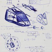 """""""Projecto de um Carro Voador"""", 2000, Esferográfica sobre papel, 20x30 cm [COLECÇÃO CRUZES CANHOTO]"""