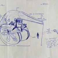 """""""Héticiclo: Projecto de Triciclo Motorizado"""", 2000, esferográfica sobre papel, 20x30cm"""
