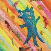 """""""Gato Cósmico"""", 2018, aguarela sobre papel, 21x30cm [INDISPONÍVEL / UNAVAILABLE]"""