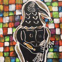 """""""Epífaro com Bastão"""", 2018, acrílico e aguarela sobe tela, 14x21cm [INDISPONÍVEL / UNAVAILABLE]"""