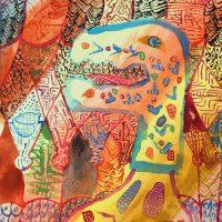 """Reptiliano"", 2018, aguarela sobre papel, 13x16cm [INDISPONÍVEL / UNAVAILABLE]"