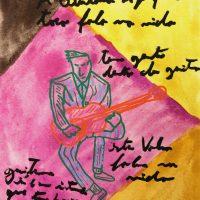 """""""Carlos Paredes — Capas Negras 8"""", 2018, aguarela sobre papel, 10,5× 14,8cm (em moldura de oito)"""