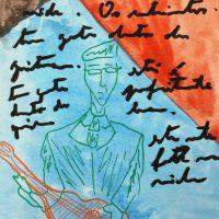 """""""Carlos Paredes — Capas Negras 5"""", 2018, aguarela sobre papel, 10,5× 14,8cm (em moldura de oito)"""
