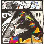 """""""Tiragem: Mistério Nº2"""", 2018, Caneta e Lápis sobre papel, 18x29cm [COLECÇÃO CRUZES CANHOTO]"""
