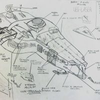 """Ubi-laser — Porta-aviões Militar"", 1999, lápis sobre papel, 42x30cm"