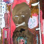 """""""Sem título"""", 2018, Acrílico e fita adesiva sobre cartão, 75x105 cm"""