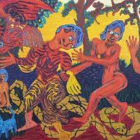 """""""A Dança"""" (a partir de André Derain), 2018, óleo sobre tela, 100x70cm [INDISPONÍVEL / UNAVAILABLE]"""