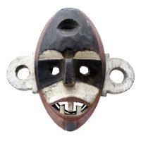 """Boa, """"Máscara"""", R. D. Congo, Séc. XX, Madeira pintada, 30x29x10cm"""