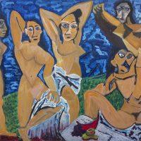 """As Damas de Avignon"" (a partir de Pablo Picasso), 2017, Óleo sobre tela, 100x70cm [INDISPONÍVEL / UNAVAILABLE]"