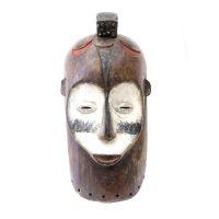 """Fang, """"Máscara"""", Gabão, Séc. XX, Madeira pintada, metal, 19x40x14cm"""