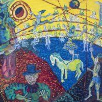 """O Circo de Amigos"" (a partir de Marc Chagall), 2018, óleo sobre tela, 100x70cm [INDISPONÍVEL / UNAVAILABLE]"