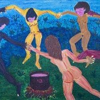 """""""A Dança das 5 Raças"""" (a partir de Henri Matisse), 2017, óleo sobre tela, 100x70cm [INDISPONÍVEL / UNAVAILABLE]"""