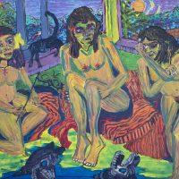 """""""3 Amigas Brincando"""" (a partir de Ernst L. Kirchner), 2018, óleo sobre tela, 100x70cm"""