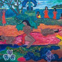"""""""Mahana no Atua (O Dia do Deus)"""" (a partir de Paul Gaugin), 2017, óleo sobre tela, 100x70cm [INDISPONÍVEL / UNAVAILABLE]"""