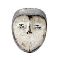 """Lega, """"Máscara"""", R. D. Congo, Séc. XX, Madeira, pigmento, 18x23x7cm"""
