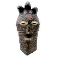 """Tempa, """"Máscara"""", R. D. Congo, Séc. XX, Madeira, pigmentos, 17x35x18cm"""