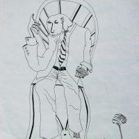 """""""Estudante Obcecado pela Sabedoria"""", 2000, artpen sobre papel, 21x30cm"""