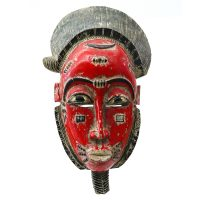"""Baule, """"Máscara Mbole"""", Costa do Marfim, século XX, madeira pintada, 23x37x12cm"""