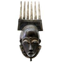 "Yohure, ""Máscara"", Costa do Marfim, Séc. XX, Madeira, 20x47x13cm"