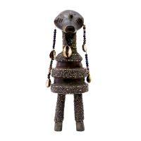 "Nyamwezi, ""Doll"", Tanzânia, Séc. XX, Madeira, conchas, contas, 9x28x8cm"