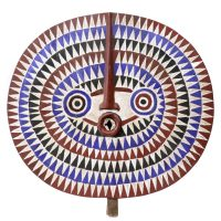 "Mossi, ""Máscara Bwa Sun"", Burkina Faso, Séc. XX, Madeira pintada, 72x70x5cm [INDISPONÍVEL / UNAVAILABLE]"