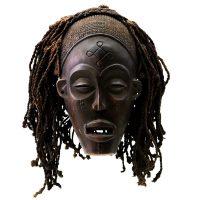 "Chokwe, ""Máscara"", R.D. Congo, século XX, madeira, corda, 23x33x21cm"