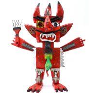 """""""Diabo O Manóide"""", madeira pintada, objectos metálicos vários, borracha, 58x64x20cm"""