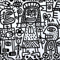"""""""O Cortejo da Santa de Quatro Olhos"""", 2019, esmalte sobre aglomerado de madeira, 104x84cm [INDISPONÍVEL / UNAVAILABLE]"""