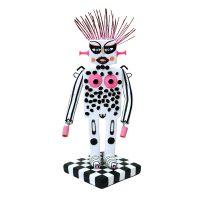 """Boemeco nº194 — Robôa Punk Estra-Terrestre"", 2019, Pasta de argila pintada, objectos vários, verniz mate, 10x21x11cm"