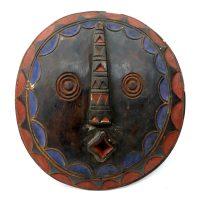 "Bwa, ""Escudo"", Burkina Faso, século XX, madeira pintada, 31x35x7cm"