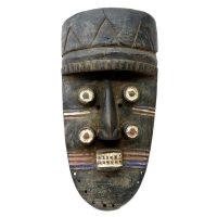 "Grebo, ""Máscara de Quatro Olhos"", Libéria, século XX, madeira, pigmentos naturais, 21x41x9cm"