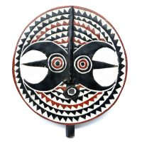 """Baule, """"Máscara Goli"""", Costa do Marfim, século XX, madeira pintada, 30x48x6cm"""