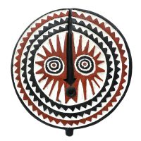 "Mossi, ""Máscara Bwa Sun"", Burkina Faso, século XX, madeira pintada, 37x40x6cm"