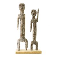 "Ada Adan, Ewe, ""Estatueta Adan Aklama #003"", Gana ou Togo, 1970-89, madeira, pigmentos, 14x27x4cm"