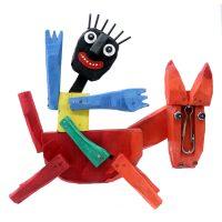 """""""Homem a Cavalo"""", 2018, madeira pintada, outros objectos metálicos e plásticos, 37x35x8cm [INDISPONÍVEL / UNAVAILABLE]"""