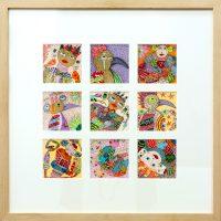 """""""Artes de Sofá 14 a 22"""" (conjunto de 9), 2017, caneta e tinta sobre cartão, 63x63cm (com moldura) (11x11cm cada cartão)"""