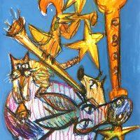 """Os Músicos de Bremen"", 2019, técnica mista sobre papel, 29x40cm [INDISPONÍVEL/UNAVAILABLE]"