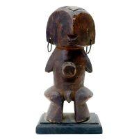 "Azande, ""Figura Yanda"", R.D. Congo, madeira, argolas de metal, 12x20x8cm (sem base)"