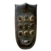 """Grebo, """"Máscara de Guerra"""", Libéria, século XX, madeira, 21x43x9cm"""