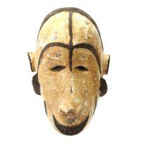 "Ibibio, Ogoni, ""Máscara"", Nigéria, século XX, madeira, caulino, 20x30x10cm"