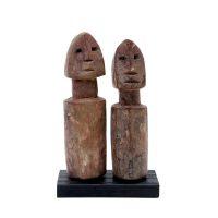 """Ada Adan, """"Par de Estatuetas Aklama #140"""", Gana, século XX, madeira, 6x10x3cm"""