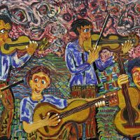 """Amadeo on the Beat"" (a partir de Amadeo Souza-Cardoso), 2019, óleo sobre tela, 100x70cm [INDISPONÍVEL / UNAVAILABLE]"